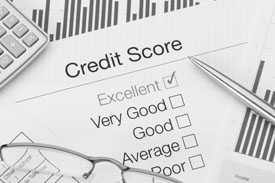 Black and white graphic of a sample credit report.