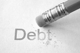How to consolidate your debts. Image: a pencil erasing the word debt.